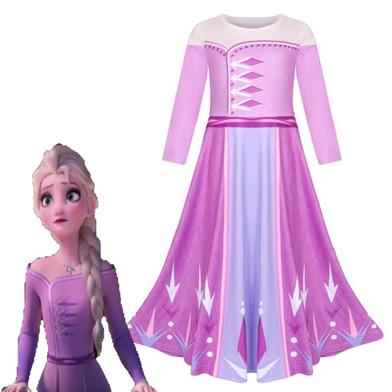 Fancy 4-10y Baby Girl Princess Elsa Dress for Girls Clothing Wear Cosplay Elza Costume Halloween Christmas Party Gift