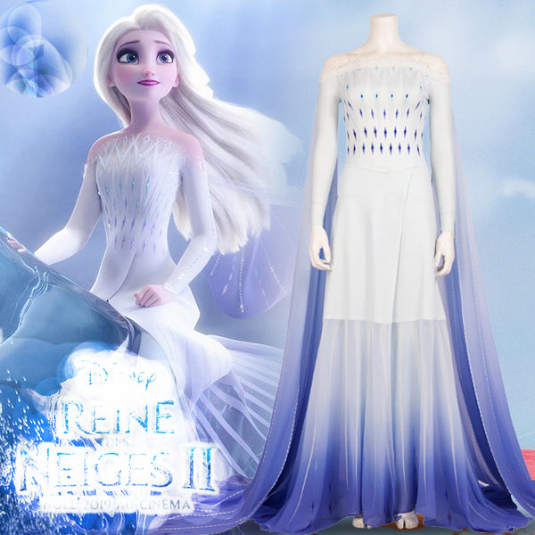 2019 Movie Elsa White Dress Custom Made Costumes Princess Elsa Cosplay Costume Dress Elsa Hair Down White Dress Adult