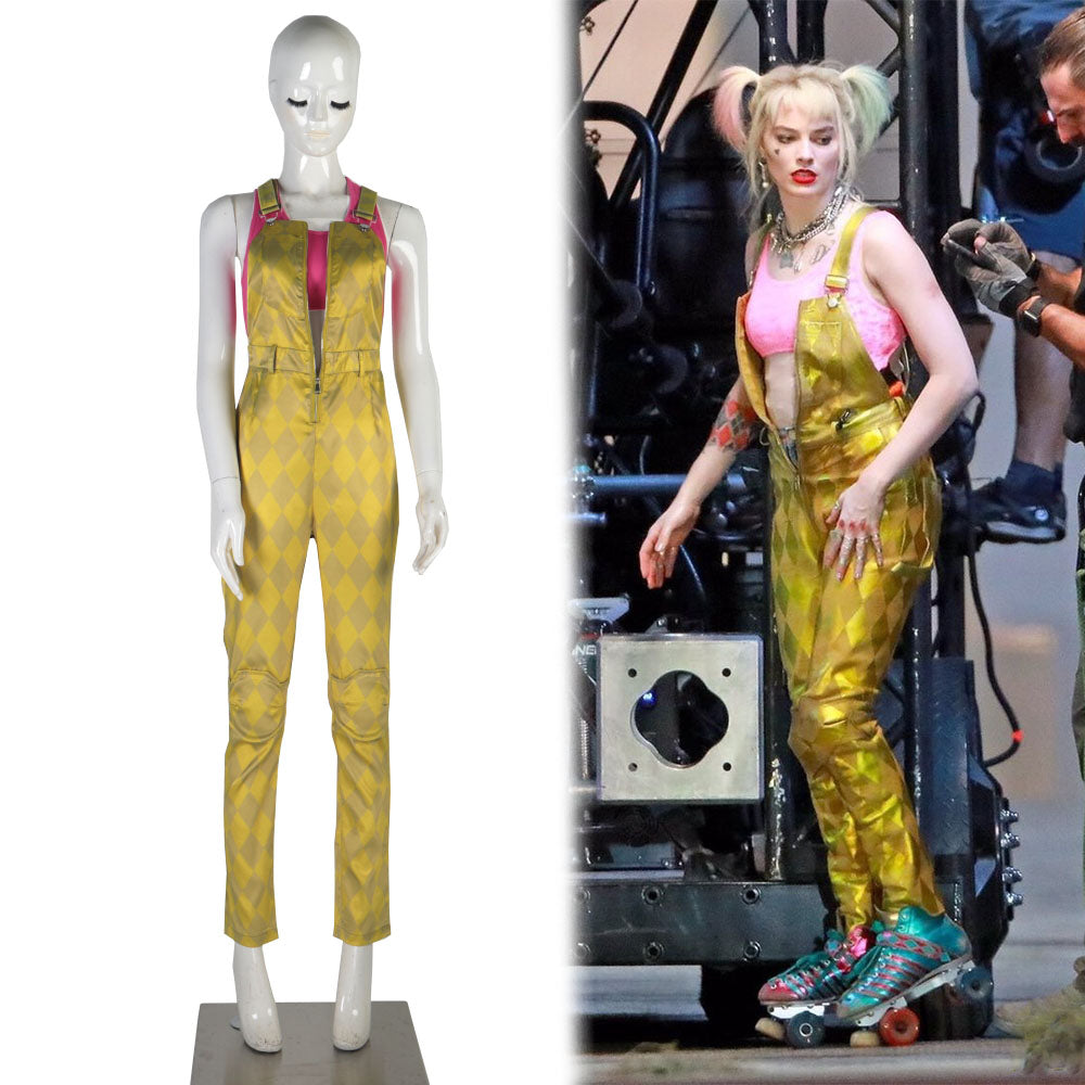 Birds of Prey Suicide Squad Harley Quinn Cosplay Costumes Joker Vest Jumpsuit Golden Yellow Romper Overalls Halloween Suit