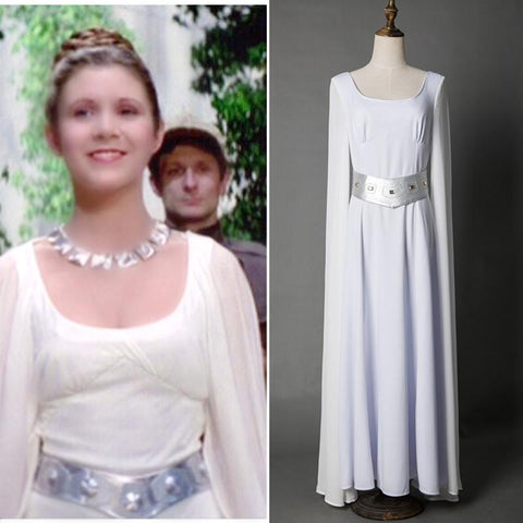 Star Wars A New Hope Princess Leia White Dress Cosplay Costume for Halloween