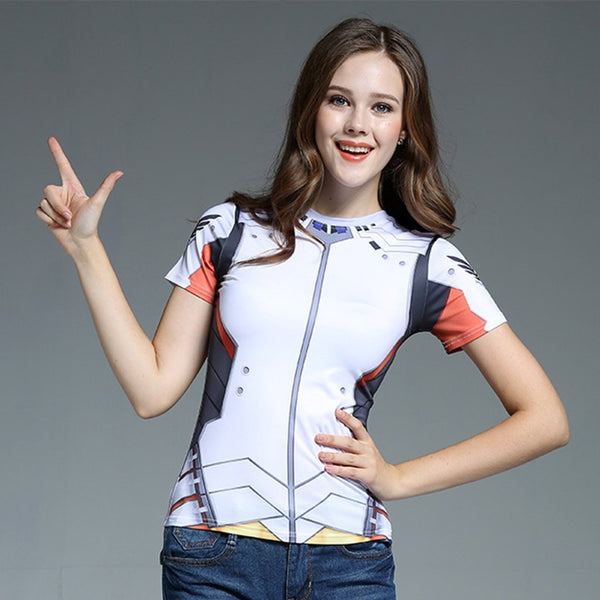 Overwatch  DVA Mercy Tracer Widowmaker Short Sleeve T-shirt Cosplay Costume