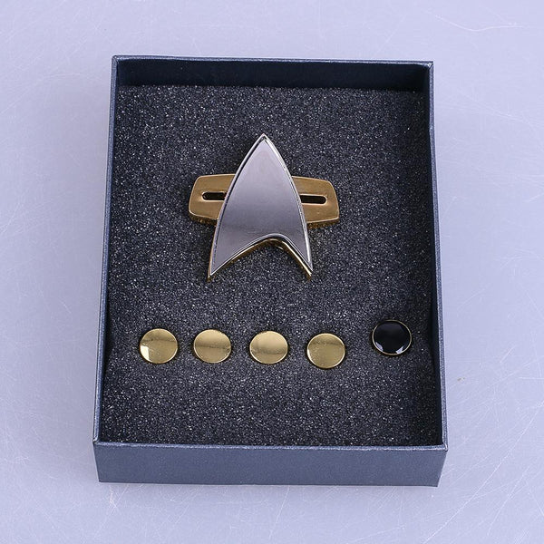 Star Trek  Voyager Communicator  Badge Pin&Rank Pip 6pcs Set Cosplay Prop