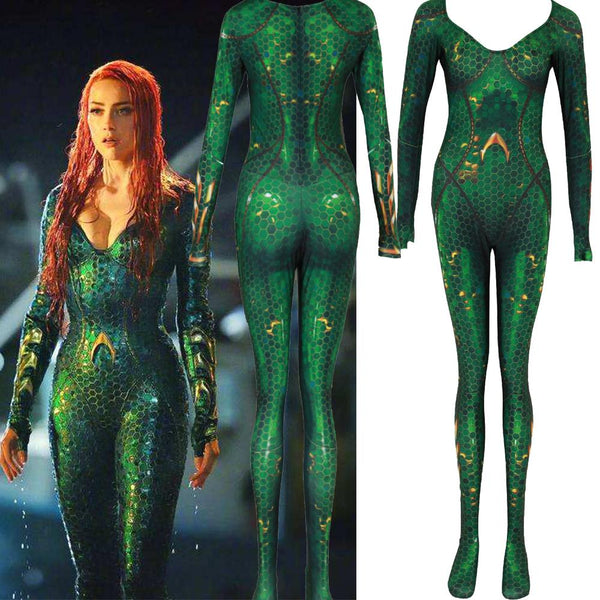 Aquaman Mera Jumpsuit Zentai Cosplay Mera Bodysuit Costume Halloween Women Kids