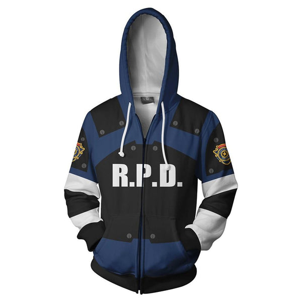 Cosplay Costume Resident Evil 2 Hoodies Halloween Cosplay Leon Scott Kennedy Jacket Sweater Zipper Clothing