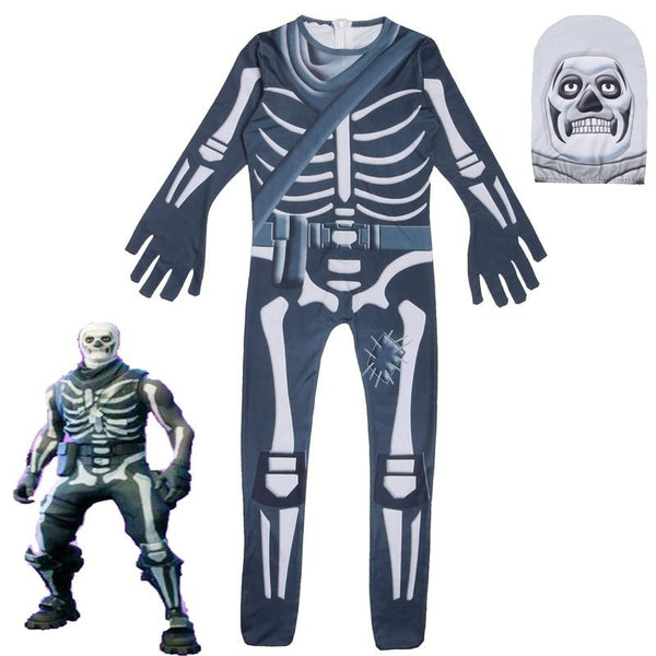Fortnite Skull Trooper Cosplay Costume Kids Halloween Skeleton Outfit