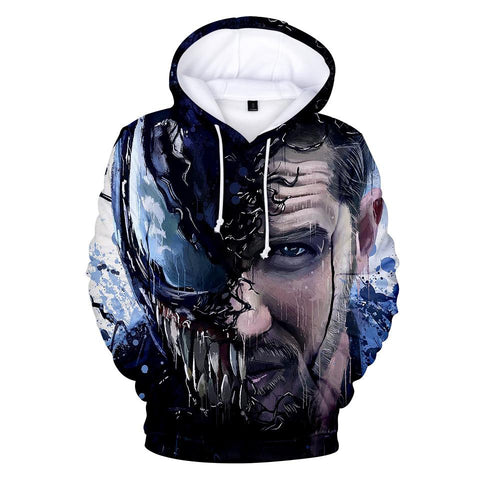 Venom 3D Printing Fashion Long-Sleeved Hooded Pullover Sweater
