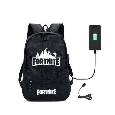 Fortnite Backpack School Bag USB Charger