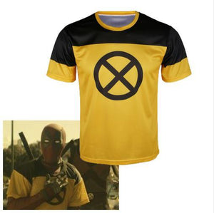 Deadpool 2 Cosplay T-Shirt Superhero Yellow Short Sleeve Tee