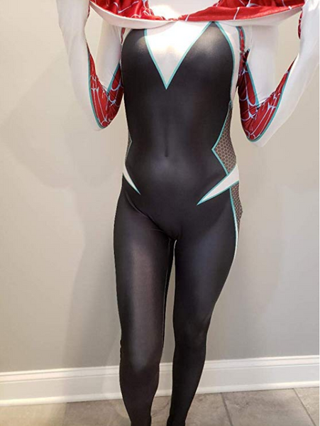 CosplayLife Gwen Stacy Cosplay Costume Into the Spider-verse Ghost Gwen Bodysuit Lycra Suit