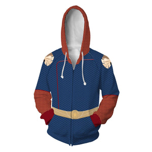 The Boys Season 1 Homelander Cosplay Hoodies Halloween Cosplay Jacket Sweater Zipper Clothing