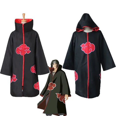 Anime Naruto Cosplay Costume Akatsuki Uchiha Itachi Cloak Cosplay Halloween Christmas Party Naruto Shippuden Costume Cloak Cape