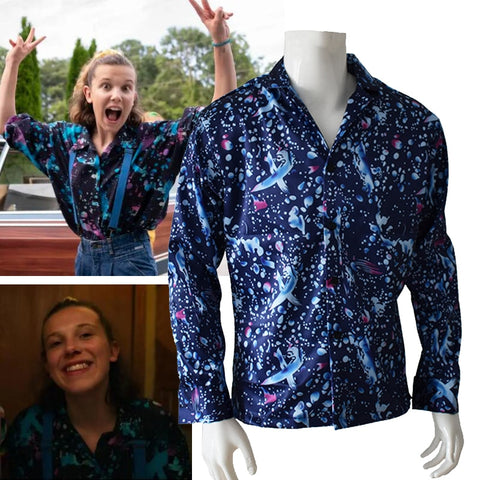 Stranger Things Season 3 Eleven Costume for Woman Shirt Blouse Cosplay Halloween Christmas Gift