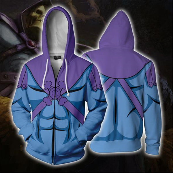 He-Man Cosplay Costume 3D Printing zipper Sweatshirts Hooded sweater fashion Men and women Anime jacket