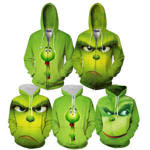 Christmas Grinch Sweater Hoodies Adults Cartoon 3D Print Zip-up Sweatshirts Men Women Pullovers GRINCH Costume Christmas Clothes