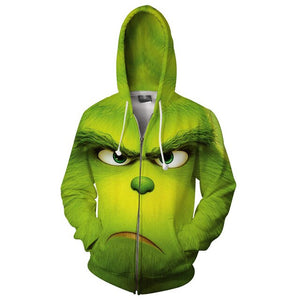 Christmas Grinch Sweater Hoodies Zipper Sweatshirts Cosplay Costume