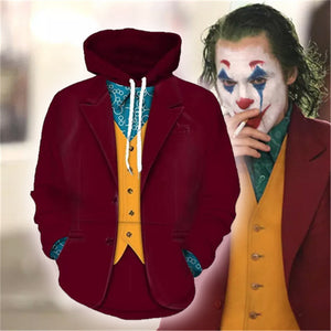 2019 Movie Joker Arthur Fleck Hoodie Cosplay Hip Hop Hooded Sweatshirt Hooded Hoodie Costume Men Women Clohting Jackets Top