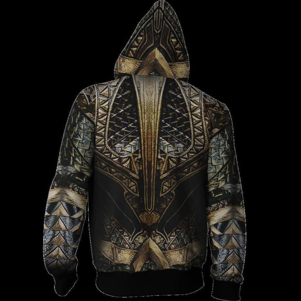 New Aquaman Arthur Curry Hoodies Coat 3D Sweatshirt Cosplay Halloween Costume