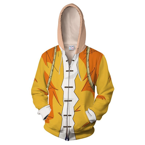 Dragon Ball Master Roshi Kame Senn Hoodies Cosplay Costumes 3D Printed Zip Up Sweatshirt Cartoon hooded sweater Jackets