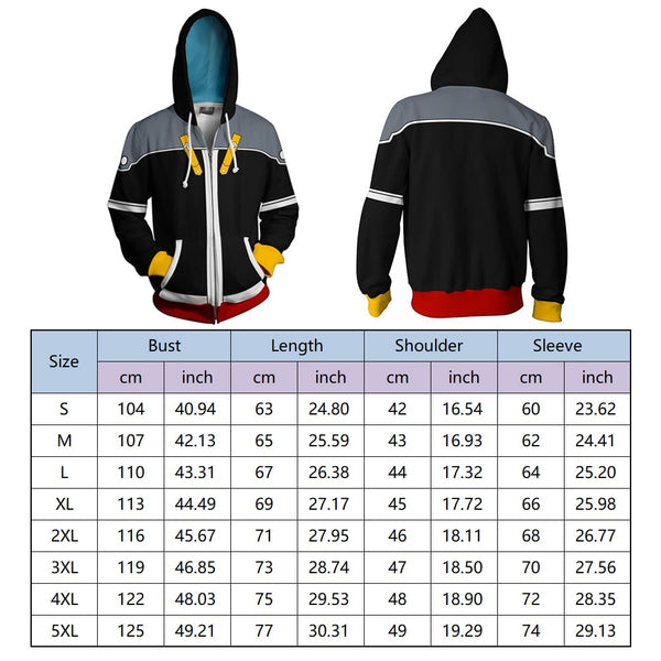 Video Game Theme Cosplay Unisex 3D Zip-up Hoodie Sweater Halloween Cosplay Game Costume For Men And Women Plus Size 5XL