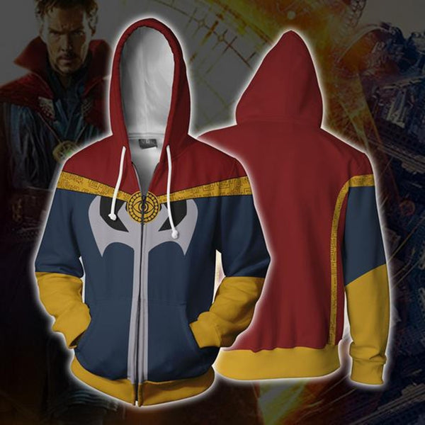 Doctor Strange Costume Sweatshirts Cosplay men women Sweater clothing 3D Printed Hoodie zipper vest Jacket Coat 5XL
