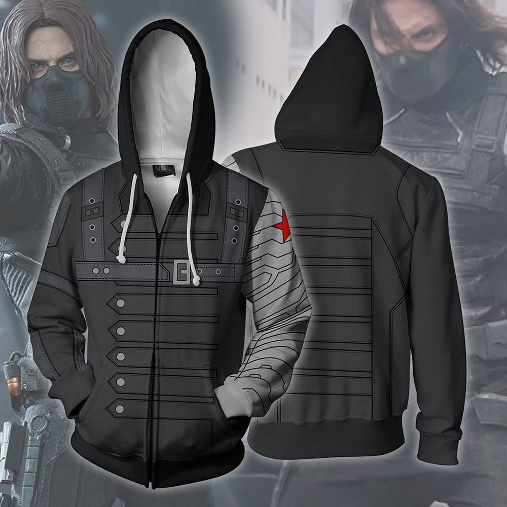 Captain America The Winter Soldier Costume Sweatshirts Cosplay Men Sweater Clothing 3D Hoodie Zipper Vest Jacket Coat