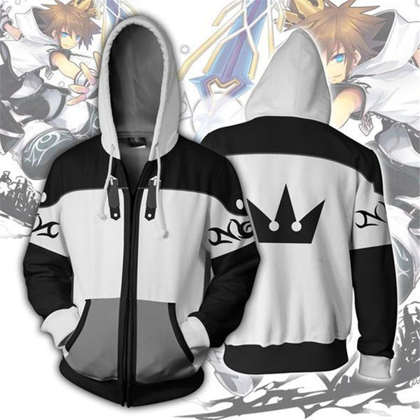 Kingdom Hearts Sora Sweatshirts Zipper Jacket Hooded Sweater Coat Tops Costume Adult Men Women