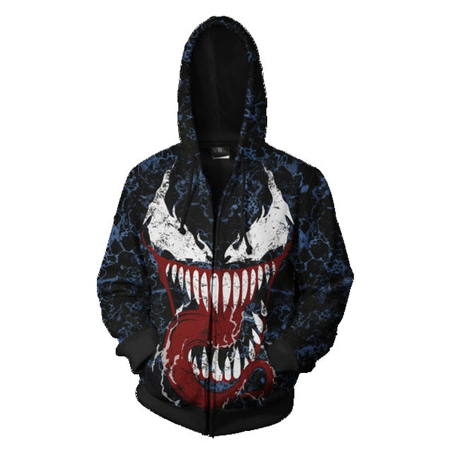 Venom Spiderman Evil Sweatshirt Cosplay  Sweatshirt zipper Cartoon hooded  Jackets
