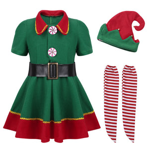 2019 Green Elf Girls Christmas Costume Festival Santa Clause for Girls New Year