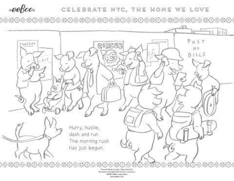 Download a Free Coloring Page: Morning Rush of New York City