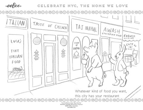Download a Free Coloring Page: Restaurants of New York City