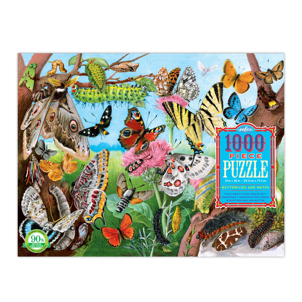 Butterflies and Moths 1000 Piece Rectangle Puzzle