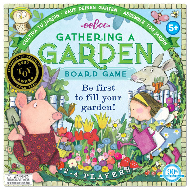 ecofriendly game for children five and up, garden spinner board game