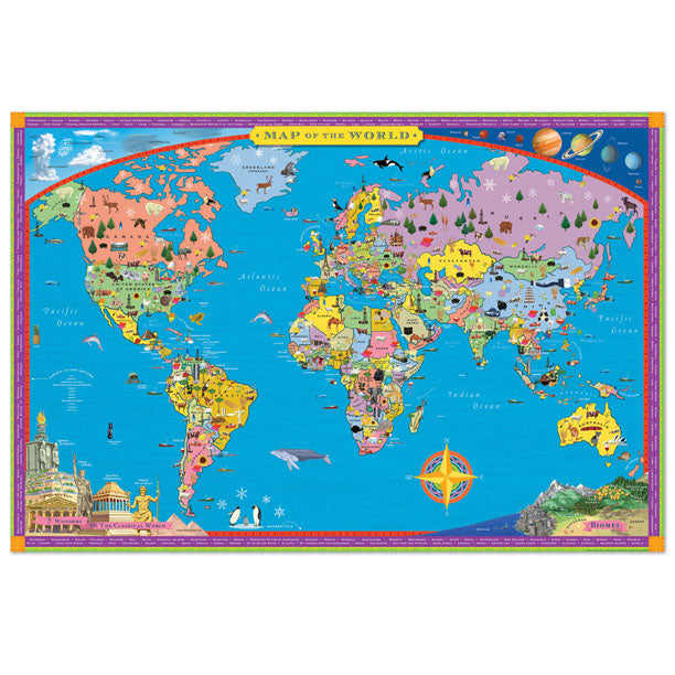 educational world map poster with legend for kids