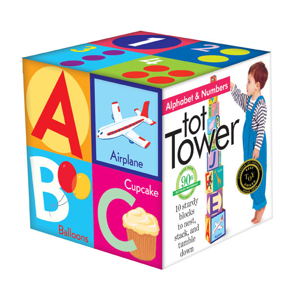 Stacking block tot tower with alphabet, numbers and illustrations by Saxton Freyman for children two years old and up