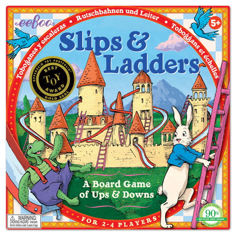 ecofriendly game for children five and up, travel across the board by ladders and down slides
