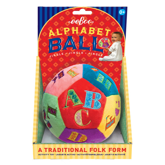 Soft velour plush alphabet ball for infants inspired by traditional folk toys