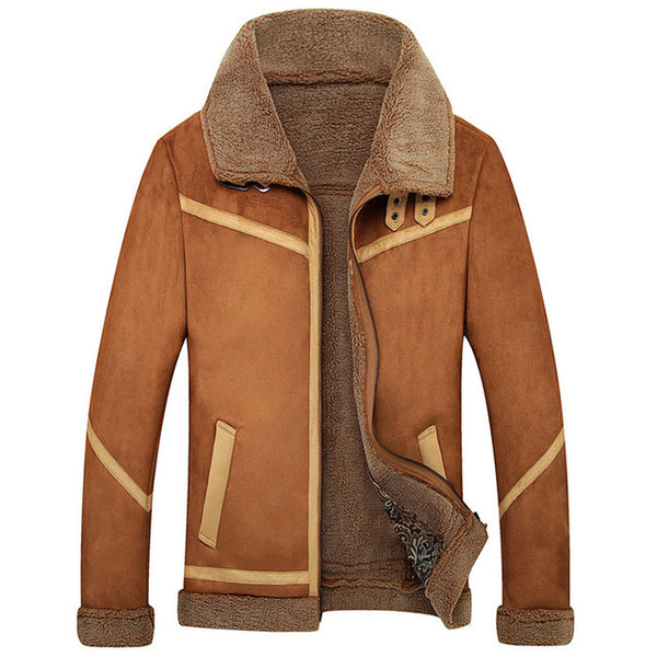Mens Faux Sheepskin Fleece Lined Winter Jacket