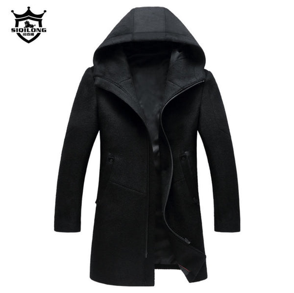 British Style Men's Winter Woolen Coat With Hood