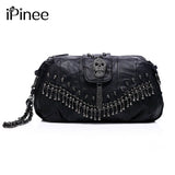 Women's Genuine Leather Skull Rivet Handbag