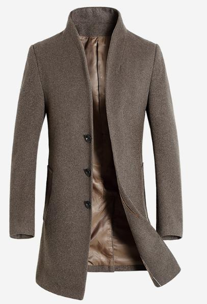 Mens Single Breasted Stand Collar Woolen Coat