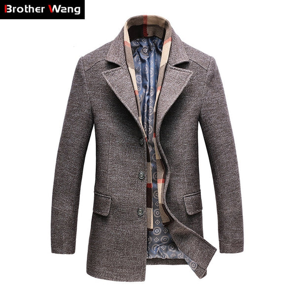 Men's Casual Wool Blend Slim Fitting Overcoat