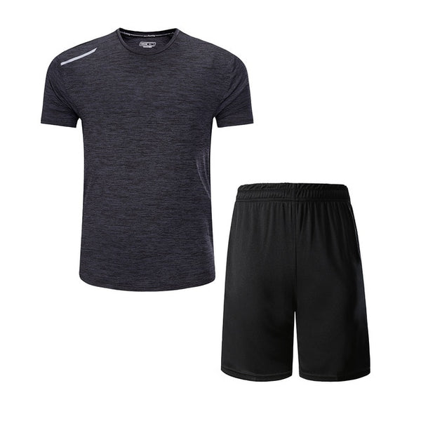 Mens Reflective Strip Sportswear T-Shirt and Shorts Set