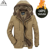Mens Hooded Winter Parka With Thick Fleece Lining