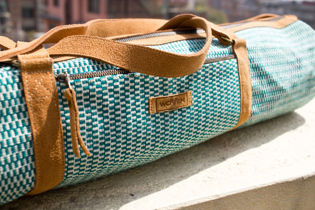 MUNIMUNI Aasha Zip Yoga Mat Bag by Woven - Green Finer Pattern - MuniMuni