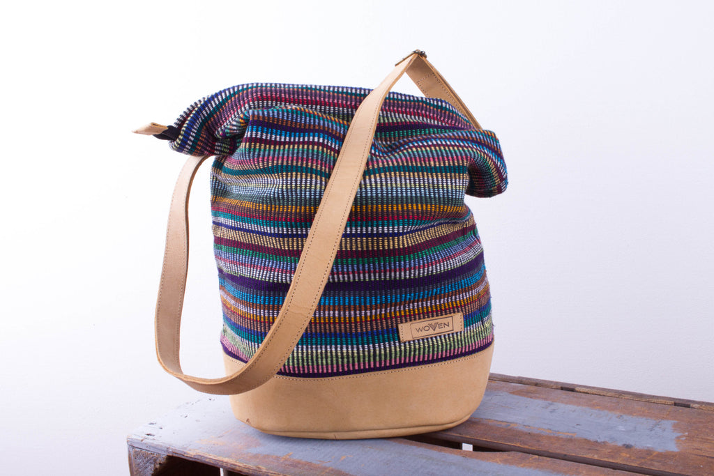 Daily bag - Dark Mix Recycle Pattern (smoother leather) - MuniMuni
