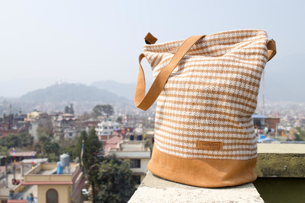 Daily bag - Light Brown/ White Thicker Stripe - MuniMuni