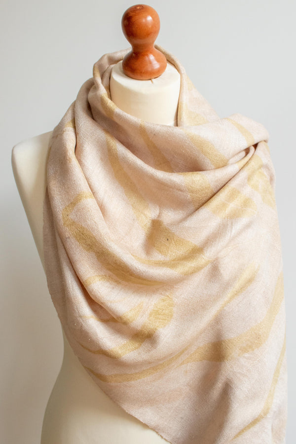 Eco-Printed Silk Leaf Scarf - Light Pink - MuniMuni