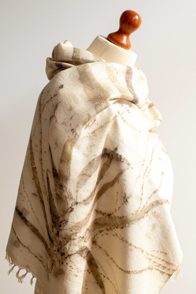 Eco-Printed Silk Leaf Scarf - Spickles & Long Leaves - MuniMuni