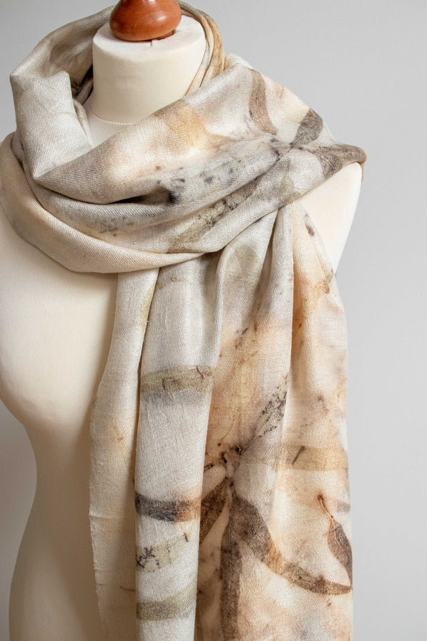 Eco-Printed Silk Leaf Scarf - Long Leaves - MuniMuni