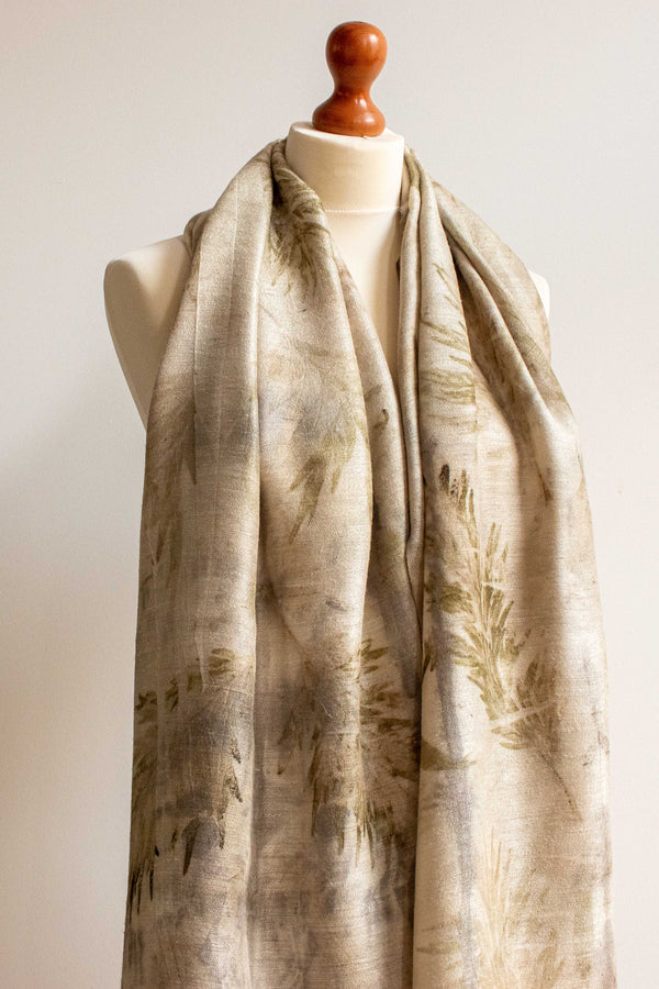 Eco-Printed Silk Leaf Scarf - Green & Grey Leaves - MuniMuni